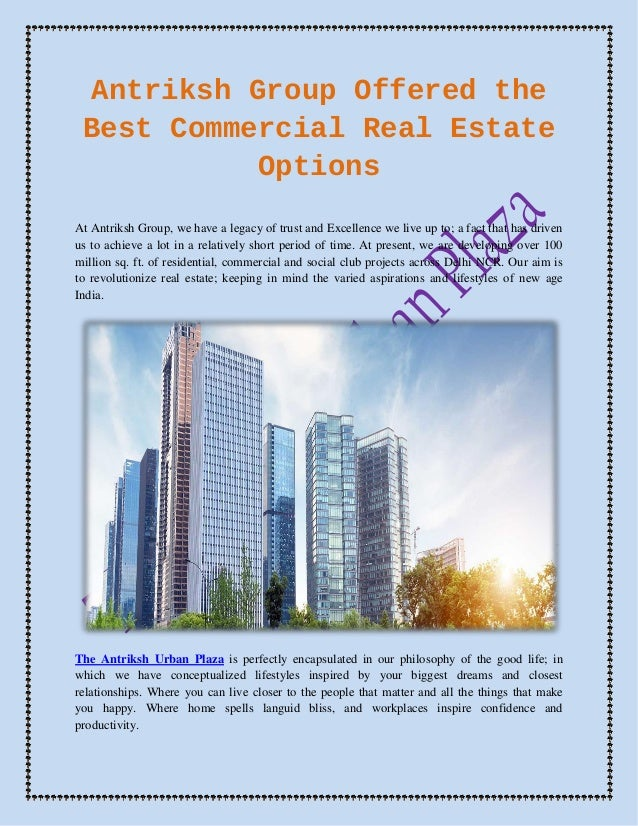 Antriksh Group Offered the Best Commercial Real Estate Options