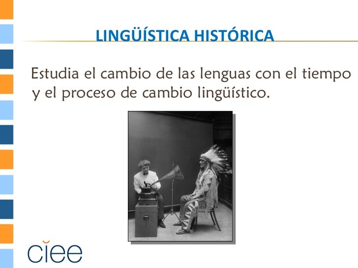 LINGÜÍSTICA HISTÓRICAEstudia el cambio de las lenguas con el tiempoy el proceso de cambio lingüístico.