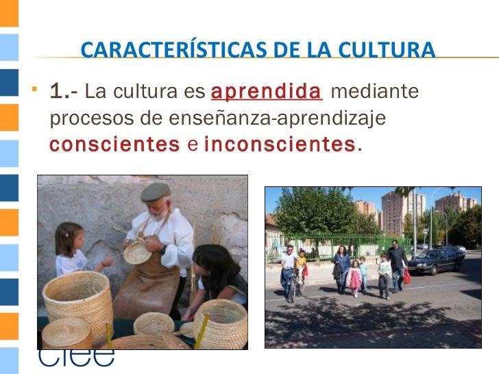 CARACTERÍSTICAS DE LA CULTURA   1.- La cultura es aprendida mediante    procesos de enseñanza-aprendizaje    conscientes ...