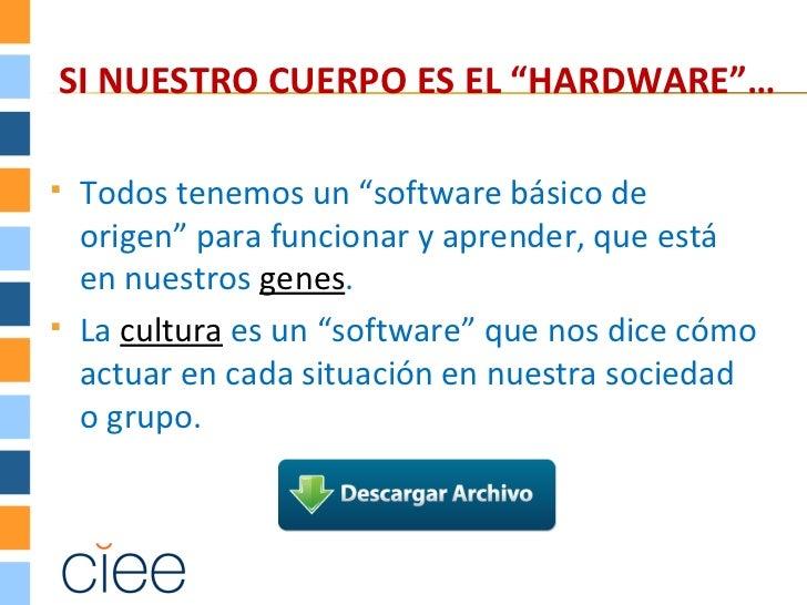 """SI NUESTRO CUERPO ES EL """"HARDWARE""""…   Todos tenemos un """"software básico de    origen"""" para funcionar y aprender, que está..."""