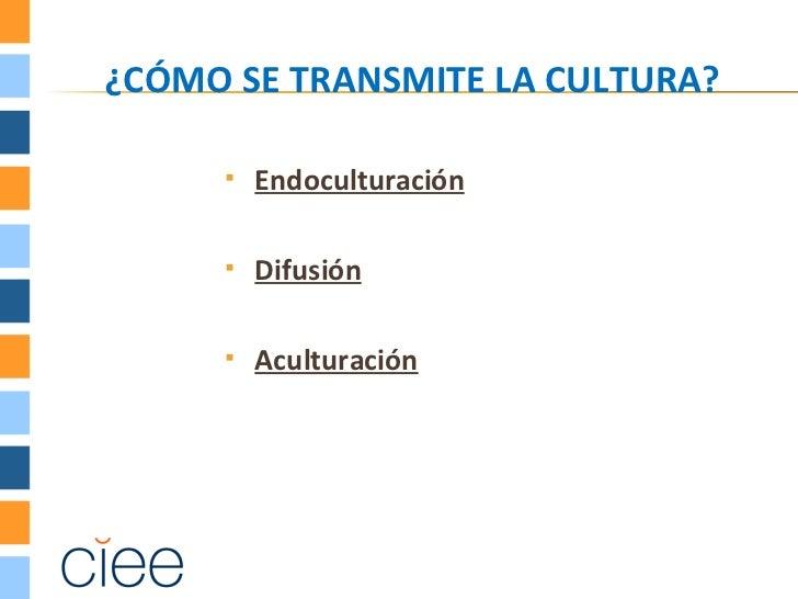 ¿CÓMO SE TRANSMITE LA CULTURA?        Endoculturación        Difusión        Aculturación