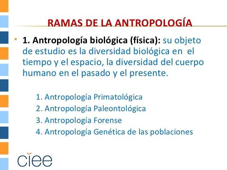 RAMAS DE LA ANTROPOLOGÍA   1. Antropología biológica (física): su objeto    de estudio es la diversidad biológica en el  ...