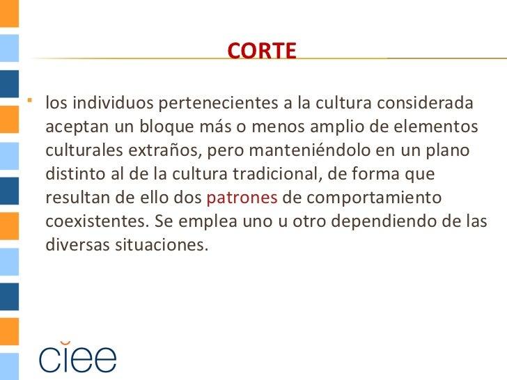CORTE   los individuos pertenecientes a la cultura considerada    aceptan un bloque más o menos amplio de elementos    cu...