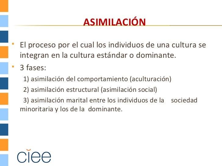ASIMILACIÓN   El proceso por el cual los individuos de una cultura se    integran en la cultura estándar o dominante.   ...