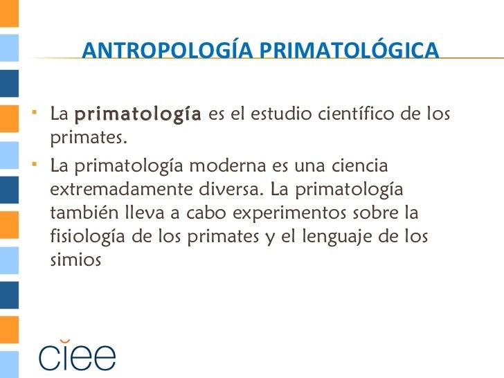 ANTROPOLOGÍA PRIMATOLÓGICA   La primatología es el estudio científico de los    primates.   La primatología moderna es u...