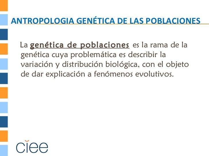 ANTROPOLOGIA GENÉTICA DE LAS POBLACIONES La genética de poblaciones es la rama de la genética cuya problemática es describ...