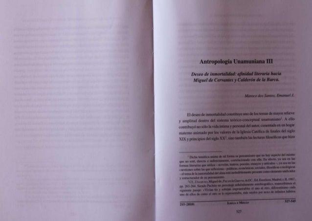 Antropología Unamuniana III  Deszto de inmortaltliad:  afinidad Iitcmria hacia Miguel de Cervantes y Calderón dt la Ban-a....