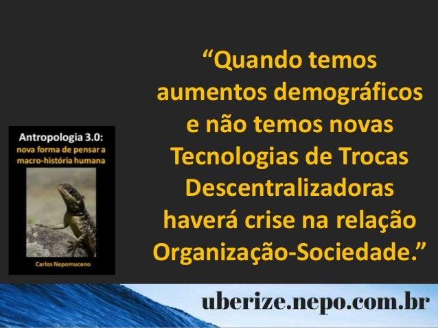 """""""Quando temos aumentos demográficos e não temos novas Tecnologias de Trocas Descentralizadoras haverá crise na relação Org..."""