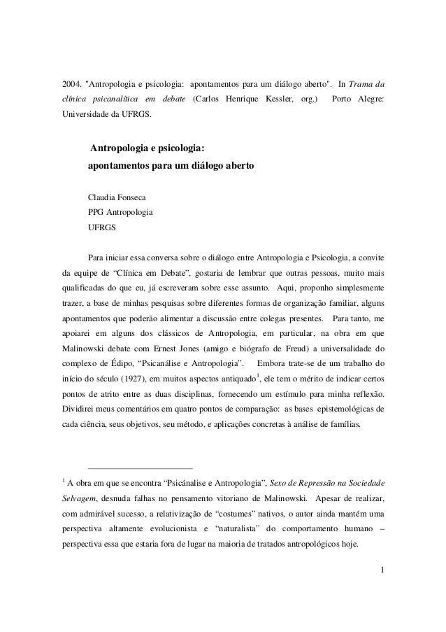 """2004. """"Antropologia e psicologia: apontamentos para um diálogo aberto"""". In Trama da  clínica psicanalítica em debate (Carl..."""