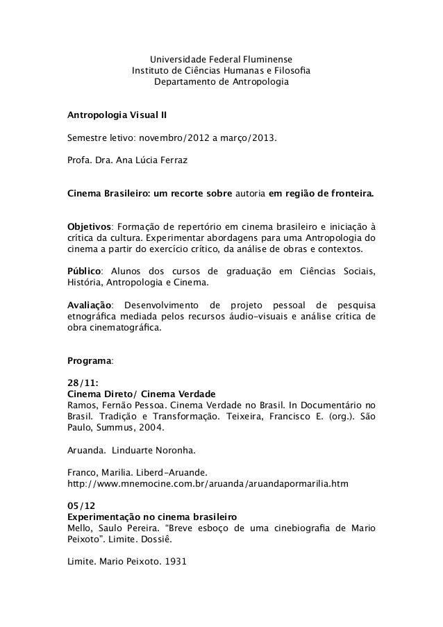 Universidade Federal Fluminense               Instituto de Ciências Humanas e Filosofia                     Departamento de...