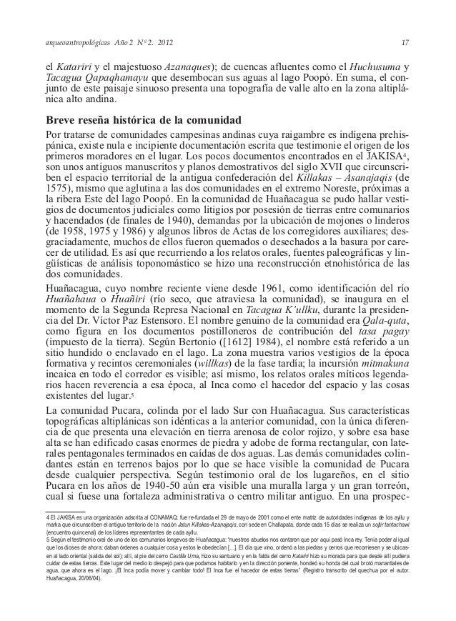 arqueoantropológicas Año 2 Nº 2. 2012 el Katariri y el majestuoso Azanaques); de cuencas afluentes como el Huchusuma y Tac...