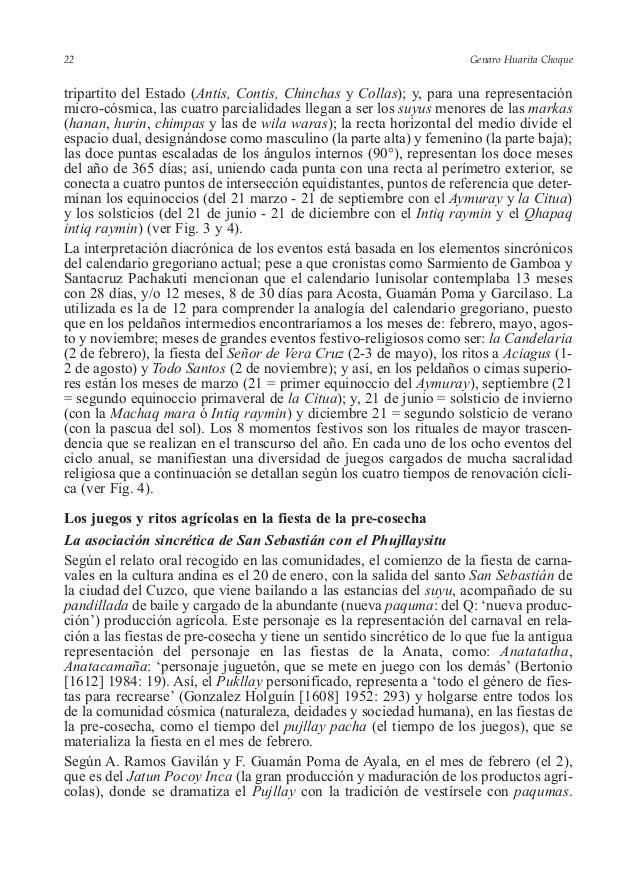 Genaro Huarita Choque tripartito del Estado (Antis, Contis, Chinchas y Collas); y, para una representación micro-cósmica, ...