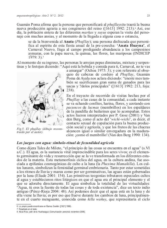 arqueoantropológicas Año 2 Nº 2. 2012 Guamán Poma afirma que la persona que personificará al phujllaysitu traerá la buena ...