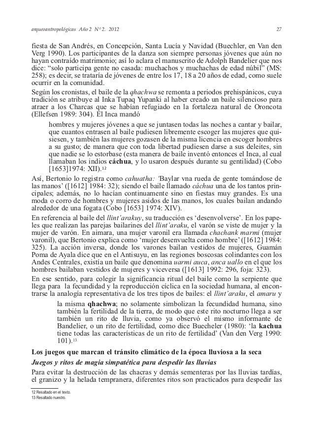 arqueoantropológicas Año 2 Nº 2. 2012 fiesta de San Andrés, en Concepción, Santa Lucía y Navidad (Buechler, en Van den Ver...