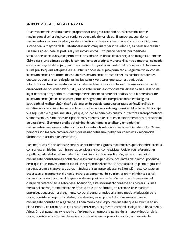 Antropometria estatica y dinamica for Antropometria estatica