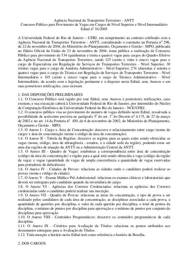 Agência Nacional de Transportes Terrestres - ANTT Concurso Público para Provimento de Vagas em Cargos de Nível Superior e ...