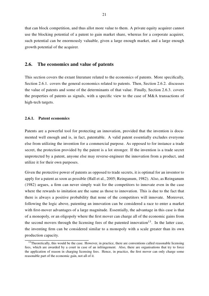 Master thesis patent