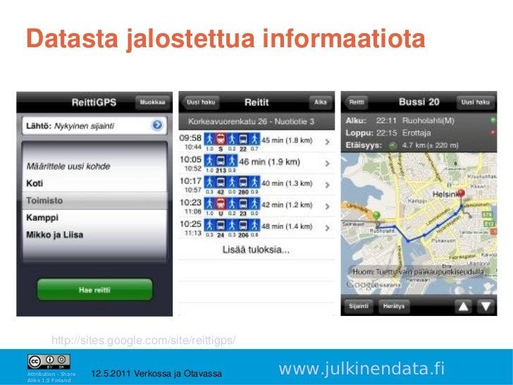 Datastajalostettuainformaatiota         http://sites.google.com/site/reittigps/                                        ...
