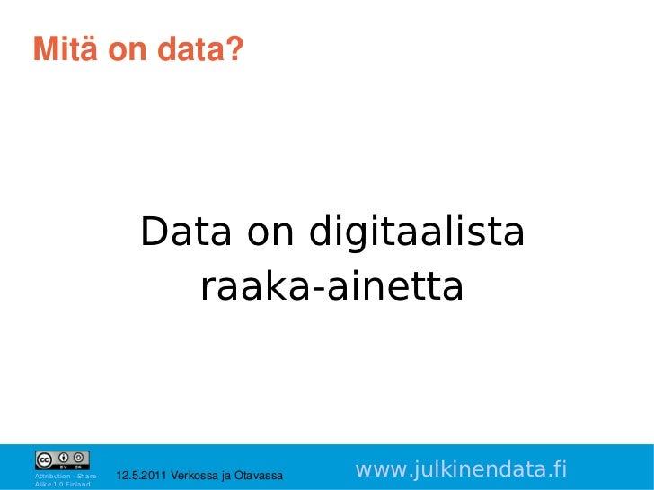 Mitäondata?                          Data on digitaalista                            raaka-ainetta                     ...