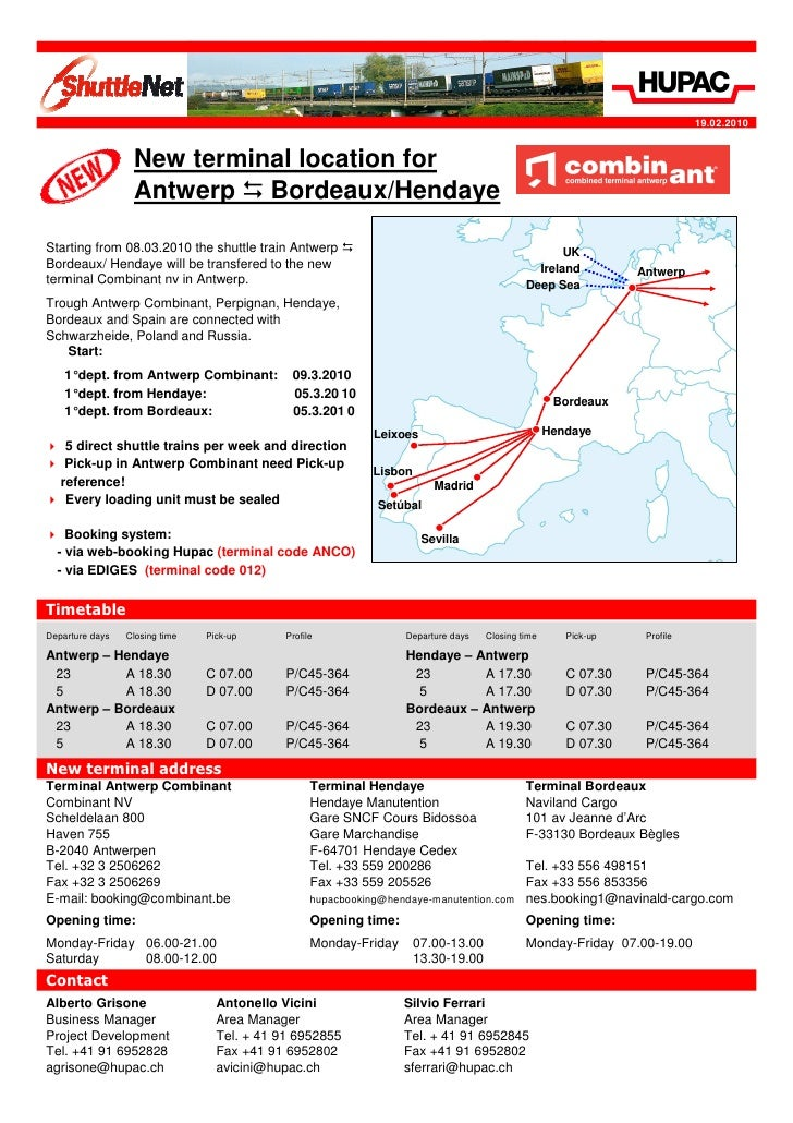 19.02.2010                     New terminal location for                   Antwerp Bordeaux/Hendaye  Starting from 08.03.2...