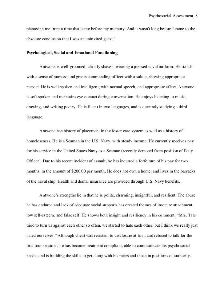 psychosocial assessment example Psychosocial Assessment Template - Design Templates