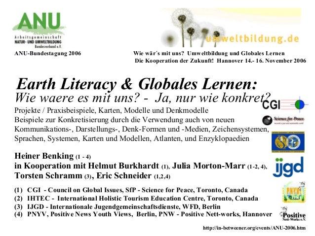 Earth Literacy & Globales Lernen: Heiner Benking (1 - 4) in Kooperation mit Helmut Burkhardt (1), Julia Morton-Marr (1-2, ...