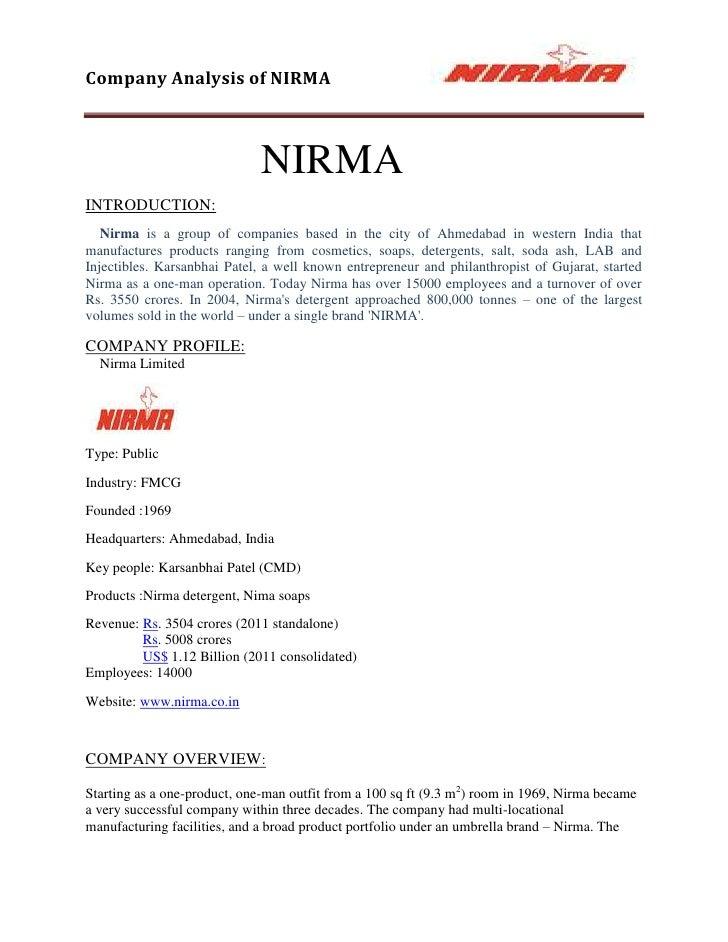 The Background Of Nirma Washing Powder Marketing Essay