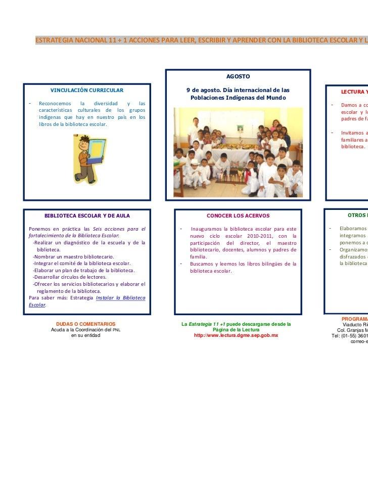 ESTRATEGIANACIONAL11+1ACCIONESPARALEER,ESCRIBIRYAPRENDERCONLABIBLIOTECAESCOLARYLABIBLIOTECADEAULA   ...