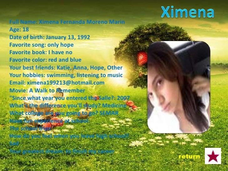 Full Name: Karla Nayely Nava Dominguez Age: 17 Date of birth: November 4, 1992 Favorite Song: yesterday Favorite book: Pri...