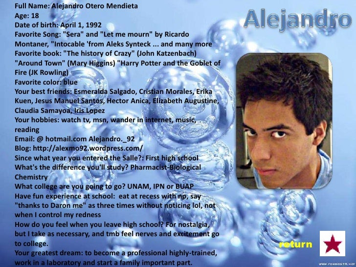 Full name: Cristian Josué Morales. López Age: 17 years Date of Birth: December 1, 1992 Favorite Song: Enrique Iglesias nev...
