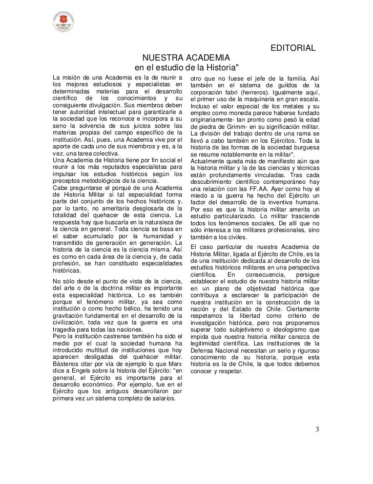 """EDITORIAL                                NUESTRA ACADEMIA                              en el estudio de la Historia""""La mis..."""