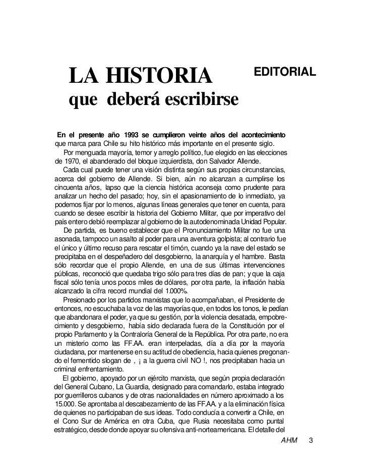 EDITORIAL     LA HISTORIA     que deberá escribirse  En el presente año 1993 se cumplieron veinte años del acontecimiento ...