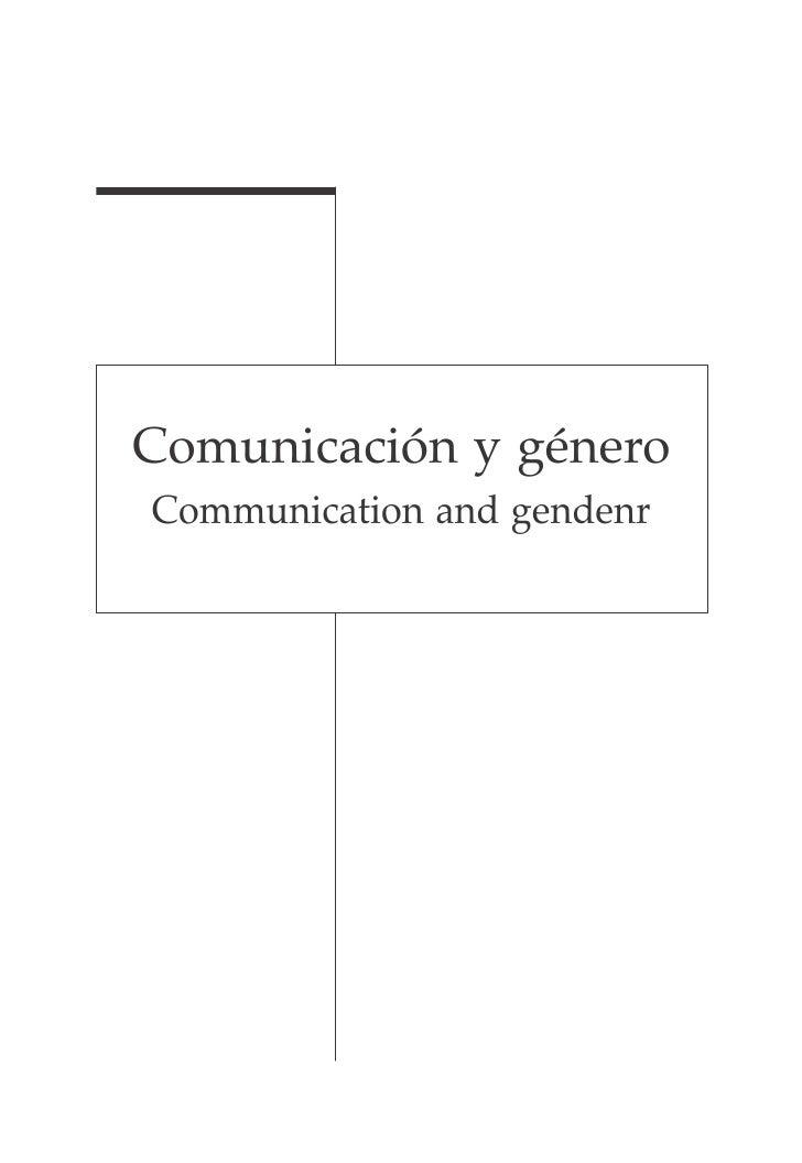Comunicación y género Communication and gendenr
