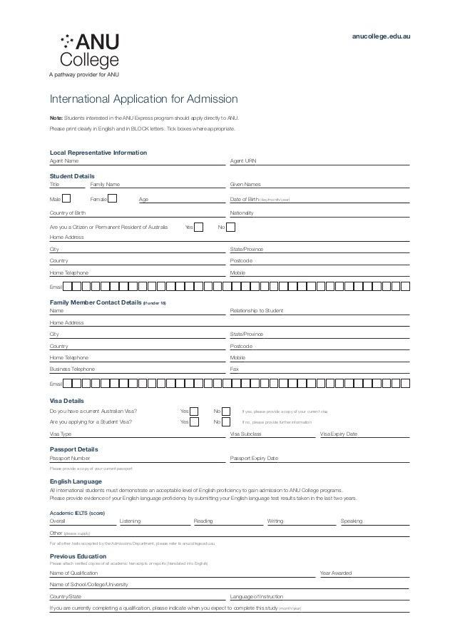 Australian National University Application Form For International Students on