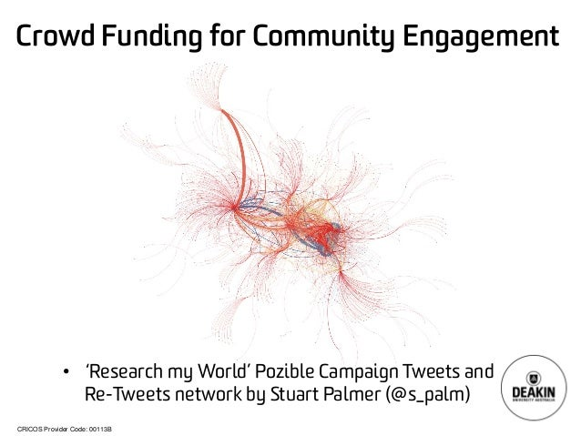 CRICOS Provider Code: 00113B  Crowd Funding for Community Engagement  •  'Research my World' PozibleCampaign Tweets and Re...