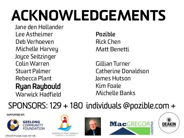 CRICOS Provider Code: 00113B  ACKNOWLEDGEMENTS  SPONSORS: 129 + 180 individuals @pozible.com +  Jane den Hollander  Lee As...