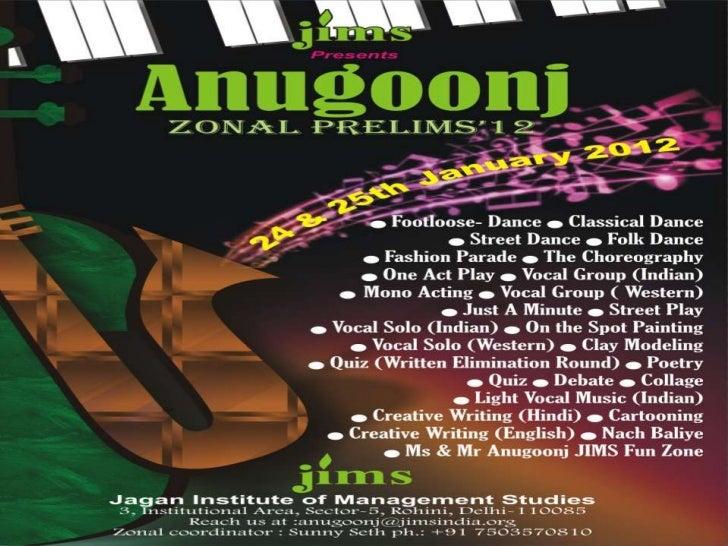 ANUGOONJ 2012 Zonals PROGRAMME SCHEDULE @  Tuesday, January 24, 2012