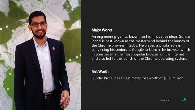 Major Works An engineering genius known for his innovative ideas, Sundar Pichai is best known as the mastermind behind the...