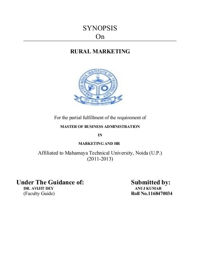 SYNOPSIS                                     On                           RURAL MARKETING                   For the partia...