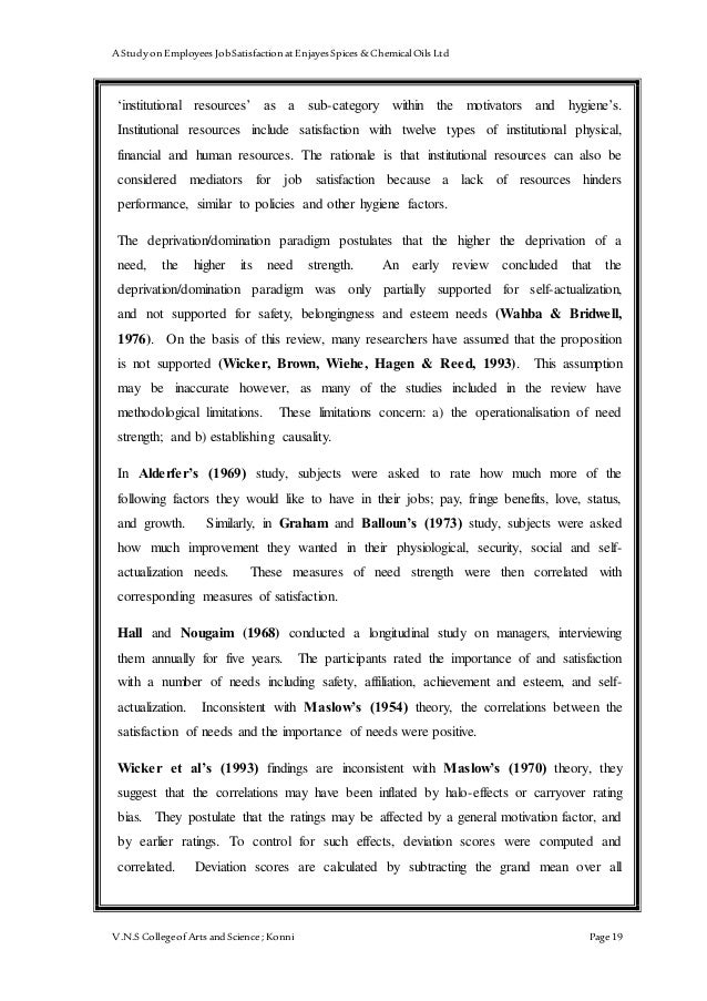 rationale about job satisfaction International journal of humanities and social science vol 3 no 5 march 2013 245 work performance and job satisfaction among teachers.