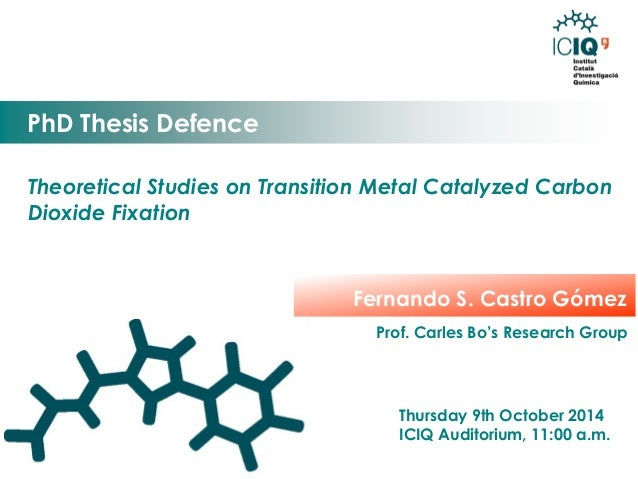 Theoretical Studies on Transition Metal Catalyzed Carbon Dioxide Fixation  PhD Thesis Defence  Thursday 9th October 2014  ...
