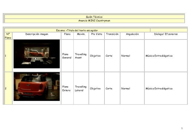 Guión Técnico Anuncio MINI Countryman Escena: <Titulo del texto escogido> Nº Plano Descripción imagen Plano Movim. Pto Vis...