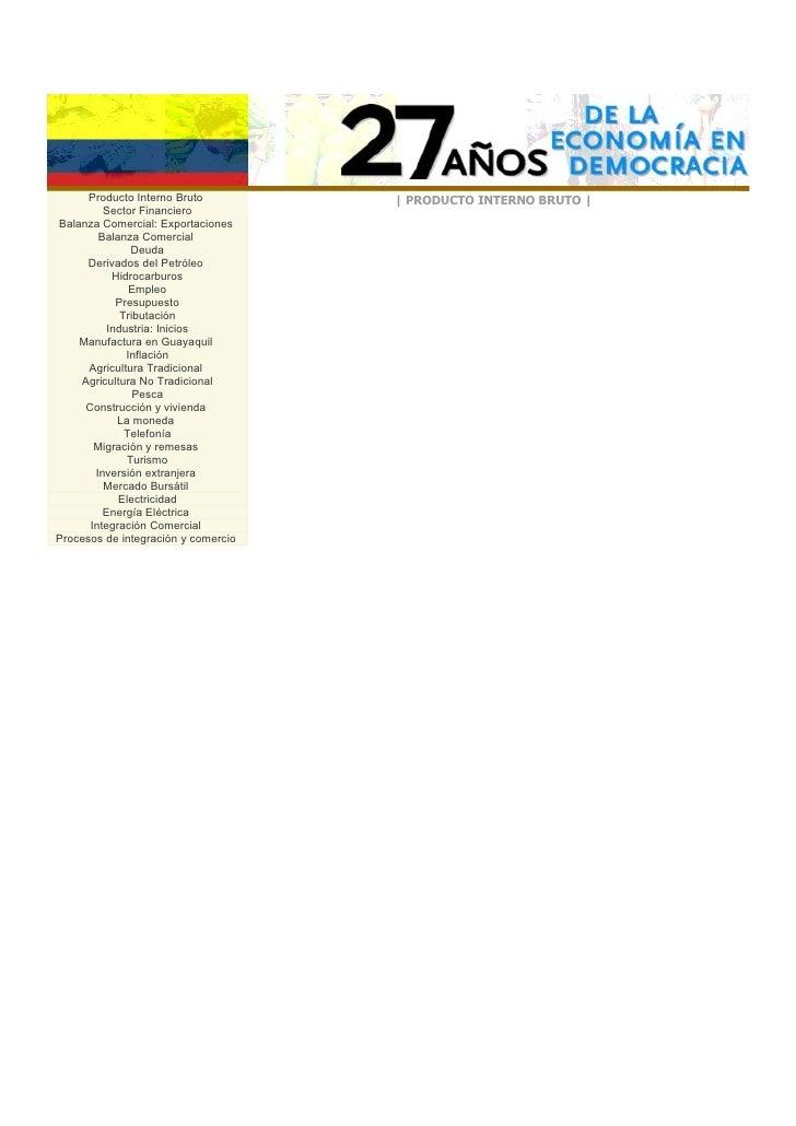 Producto Interno Bruto         | PRODUCTO INTERNO BRUTO |          Sector Financiero Balanza Comercial: Exportaciones     ...
