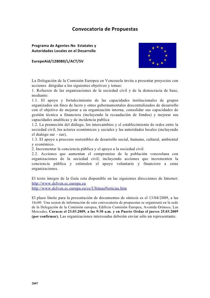 Convocatoria de Propuestas  Programa de Agentes No Estatales y Autoridades Locales en el Desarrollo  EuropeAid/128080/L/AC...