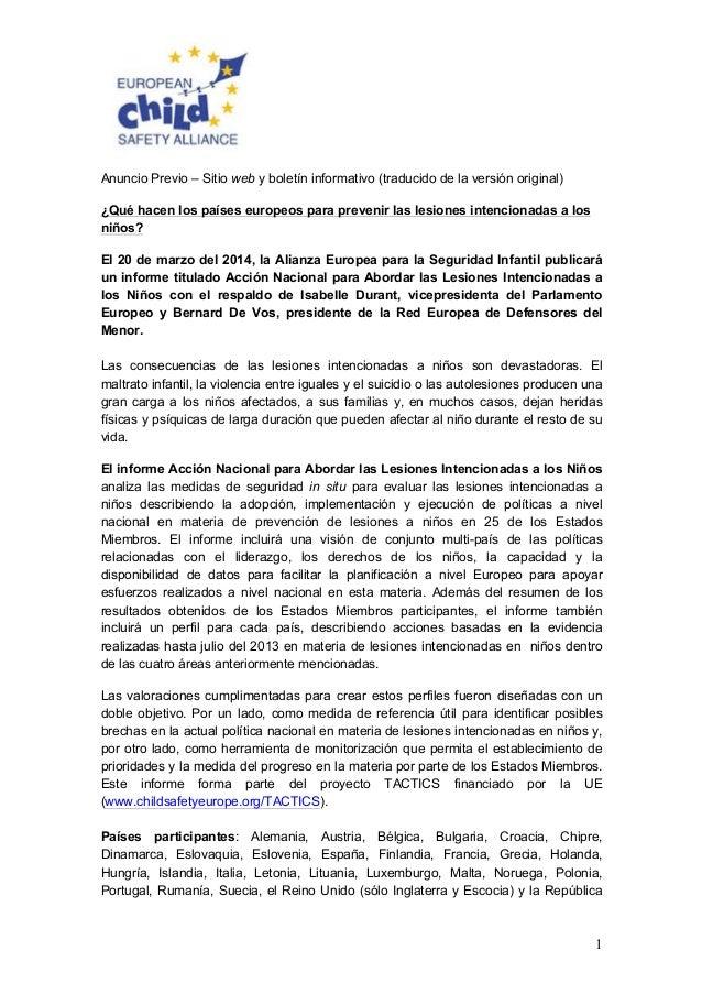 1 Anuncio Previo – Sitio web y boletín informativo (traducido de la versión original) ¿Qué hacen los países europeos para ...
