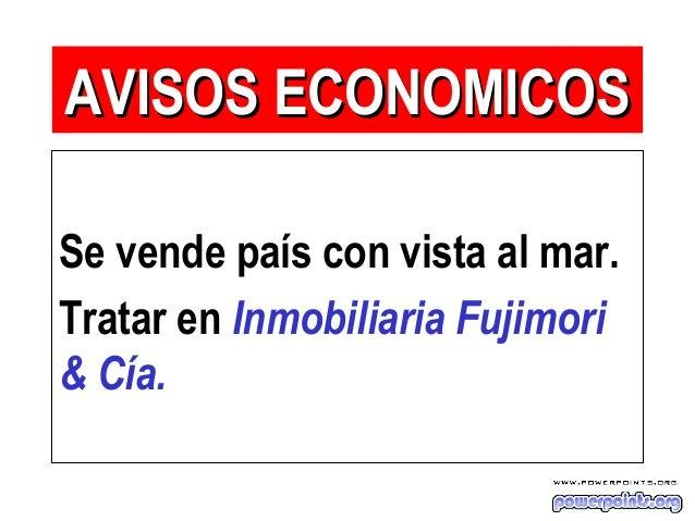Se vende país con vista al mar. Tratar en Inmobiliaria Fujimori & Cía. AVISOS ECONOMICOSAVISOS ECONOMICOS