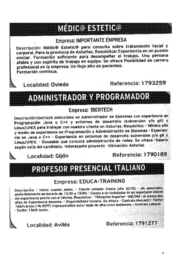 Anuncios de empleo en prensa 06 04 2015 for Ofertas de empleo en la linea