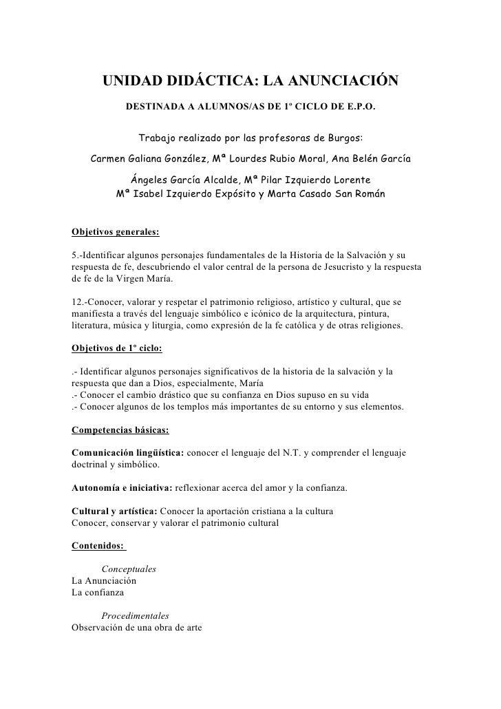 UNIDAD DIDÁCTICA: LA ANUNCIACIÓN               DESTINADA A ALUMNOS/AS DE 1º CICLO DE E.P.O.                    Trabajo rea...