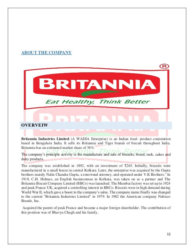 a project report on britannia industries ltd Get britannia industries ltd live share price, historical charts, volume, market capitalisation, market performance, reports and other company details.