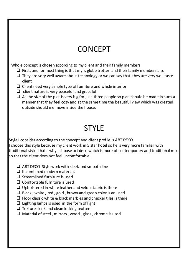 Interior design client profile for Interior design assignments examples